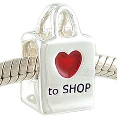 $19.99 Of course you do! Which is why you'll need this adorable Love To Shop bead to prove it! This charm is decorated on both sides with the same design including the red epoxy enamel heart. Cast of solid .925 sterling silver, it is a fun addition to any bracelet or bead collection! The large hole allows this bead to slide easily onto your bracelet. This bead is unthreaded, stamped ...