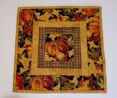Quilted Table Topper Pumpkins and  Fall Leaves,  Autumn Table Runner Quilt, Pumpkin Table Topper, Quilted Candle Mat, Thanksgiving Decor by ForgetMeNotQuilteds on Etsy