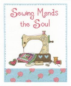 A classic vintage sewing machine is included in BK1433 Sewing Mends the Soul cross stitch kit.