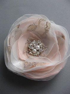 Wedding vintage inspired bridal accessory Tan Ivory Blush Pink Hair clip Flower lace Rose fascinator rhinestone pearls 3 inch. $28.00, via Etsy.