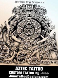 Aztec calendar tattoo by juno tattoo designs Aztec Tattoos Sleeve, Aztec Tribal Tattoos, Mayan Tattoos, Mexican Art Tattoos, Aztec Tattoo Designs, Aztec Art, Tribal Shoulder Tattoos, Tattoo Sleeves, Turtle Tattoos