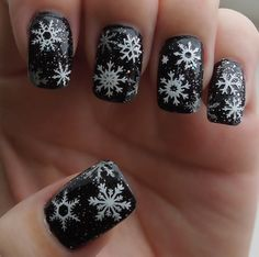 Cute Holiday Nail design that can be worn past Christmas. These are my nails with a design I cut with my silhouette cameo, went to Dafonts and down loaded a Holiday font with snowflakes - for free!! Cover with a really sparkly topcoat. I have gotten so many compliments.  Would look cute over blue too.  Check out my other pick of right hand!