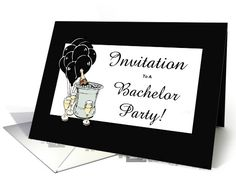 Customizable Invitation with Black Balloons and Champagne.