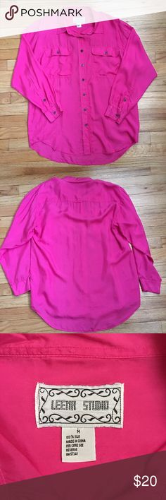 "Leena Studio Magenta 100% Silk Button Down Blouse Gorgeous bright pink 100% soft, buttery silk button down (or pullover) blouse in excellent condition Medium, but could easily wear as a Large Underarm to Underarm: 22"" Overall Length: 32"" Leena Studio Tops Blouses"