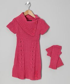 Love this Pink Cable-Knit Split-Neck Sweater Dress & Arm Warmers - Girls by Dollhouse on #zulily! #zulilyfinds