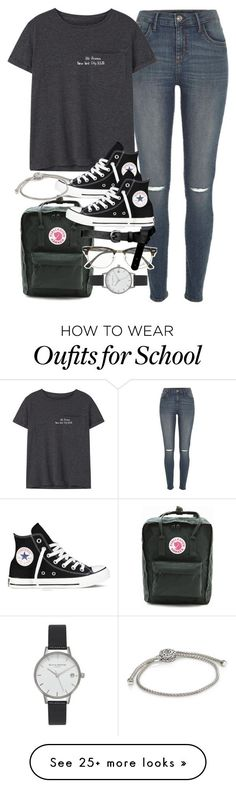 """Outfit for school"" by ferned on Polyvore featuring River Island, MANGO, Fjällräven, Converse, John Hardy, Ray-Ban, ASOS and Olivia Burton"