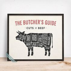 BEEF, BUTCHERS GUIDE PRINT by Voca Prints! Butcher's Guide print comes in 5 different styles such as Pork, Chicken, Lamb, Beef and Duck. It makes a perfect gift for meat lovers and will make the kitchen wall stand out!