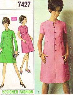 Misses Dress: The lined, step-in dress with front seam interest has slightly lowered round neckline, set-in sleeves, pockets concealed in side front