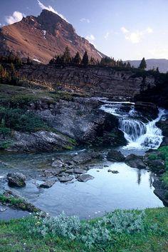 Spectacular:: Waterfall from Baker Lake, Skoki area, Banff NP, Alberta Rockies, Canada