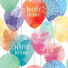 Balloon Birthday giftwrap with a beautiful watercolor design! Happy Birthday Cards Images, Happy Birthday Notes, Happy Birthday Greetings, Best Wishes Messages, Birthday Wishes Messages, Birthday Wishes For Myself, Happy Birthday Ballons, Happy Birthday Calligraphy, Happy Birthday Wallpaper