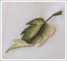 the last leaf by coeurdefreesia Via Flickr: I made some minor changes. First I used DMC light green n°3047 instead of DMC n°613. I stitched the second half of the leaf with darkest shades of green.