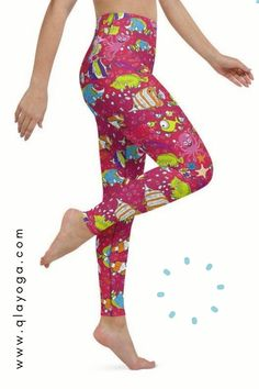 Ocean Leggings, Sea Animals Yoga Pants, Workout Tights With Fish Octopus Seahorse Jellyfish Coral Reef Pattern, Nautical Prints Underwater Yoga Leggings, Yoga Pants, Animal Yoga, Nautical Prints, Pink Ocean, Body Sculpting, Yoga Session, Festival Wear, Jellyfish