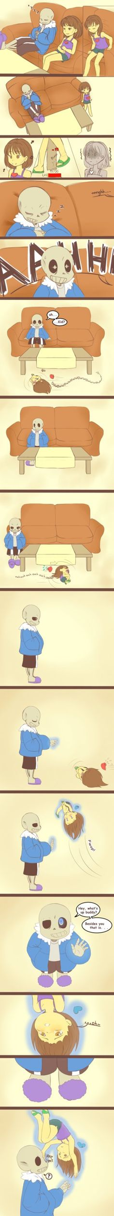 Frisk understands Sans a little better now. . . C'mon Frisk, no need to pitty him, he is well prepared. Inspired on this (plus the fact that I recently bumped my finger in the edge of bed and ...