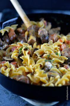 Cheesy Mushroom Sausage Pasta Recipe | ©addapinch.com