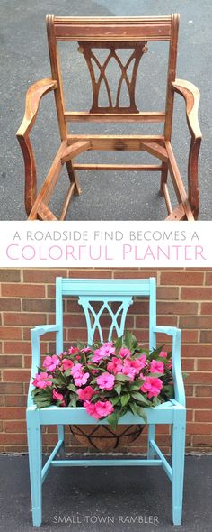 Upcycled Chair Planter @rustoleum