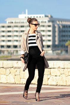 Trench, Stripes and Hair up