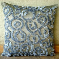 Sizzle - 16x16 inches Decorative Throw Grey Silk Pillow Covers with Grey Satin Ribbon Embroidery