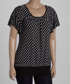 Loving this Black & White Polka Dot Scoop-Back Top - Plus on #zulily! #zulilyfinds
