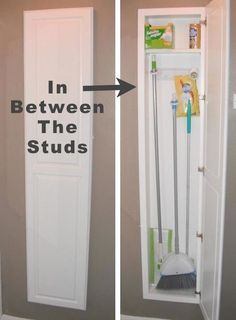 Build a narrow thin cabinet for storage of cleaning supplies. Could work for an RV also!