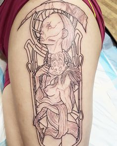 La santa muerte 1rs session. This tattoo is on my skin done by @delvirus Huge thanks to this guy!