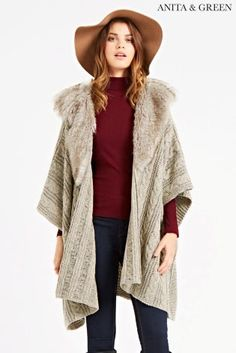 Buy Anita And Green Fur Trim Knitted Cape from the Next UK online shop