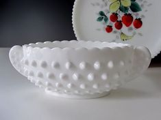 White Hobnail Dishes | Fenton Milk Glass Hobnail Dish, Oval Handled Bowl, Candy Dish, Nut ...