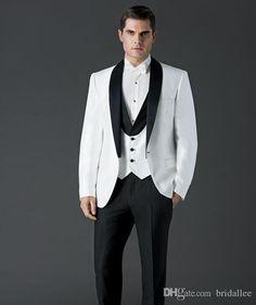 2015 New Free Shipping GenerousTop selling White Jacket Plus Size Black Satin Lapel Groom Tuxedos Groomsmen Best Man Suit Mens Wedding Suits