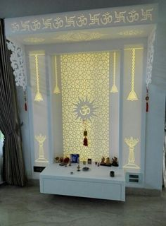 Ideas pooja room door design cnc for 2019 Living Room Partition, Room Partition Designs, Interior House Colors, Home Interior, Interior Ideas, Temple Room, Temple Design For Home, Altar, Jaali Design