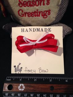 Red and white hair bow, #bunnyrootsbows