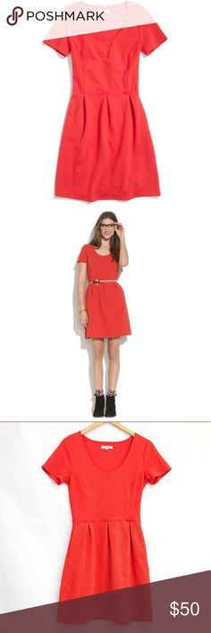 """MADEWELL red bistro dress size 4 Excellent used condition MADEWELL fit & flare style bistro dress in gorgeous red color 😍 perfect for the upcoming holidays! Pair with a statement necklace and heels to dress it up or wear with boots and a jean jacket for an everyday look. This dress is super versatile and a timeless piece! Armpit to armpit 16"""", waist 14"""", length 34"""". Madewell Dresses Mini"""
