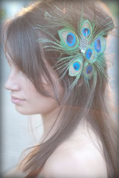 Peacock Starburst Hair Clip