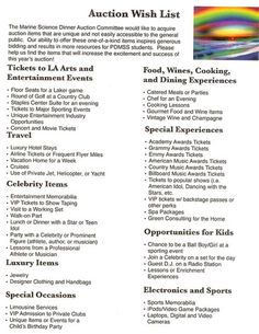 Silent Auction Wish List - What a great way to inspire your supporters to find truly unique silent auction items to donate for your fundraiser. by Isamar Bonny Nonprofit Fundraising, Fundraising Events, Fundraising Ideas, Silent Auction Baskets, Silent Auction Donations, Donation Request, Auction Projects, School Projects, School Auction