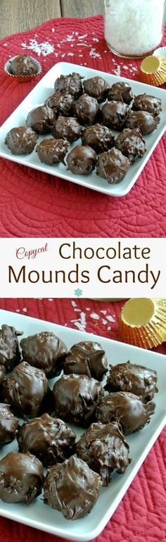 Chocolate Mounds Candy Balls recipe is based on the Mounds Bar. Four ingredients is all it takes to make the candy bar classic. Not exactly a copy-cat in looks but surely inspired. Easy and perfect! Candy Recipes, Holiday Recipes, Cookie Recipes, Dessert Recipes, Dessert Bars, Christmas Recipes, Mounds Candy, Mounds Bar, Vegan Desserts