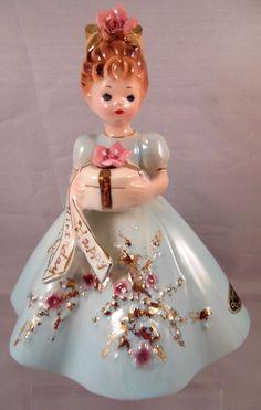 eBay- HTF Josef Originals Figurine BIRTHDAY PARTY Series Lady girl KAREN holding gift