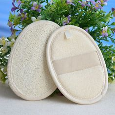 nice Pads-2 Pack Exfoliating Soft Smooth Loofah and Terry Sponge Scrubber for Shower - For Sale