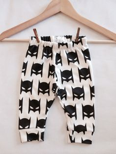 Organic Batman Black and White Baby Leggings - Made to Order by DreamElephant on Etsy https://www.etsy.com/listing/210003296/organic-batman-black-and-white-baby