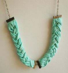 Braided Fabric necklace - vintage fabric  by monatao