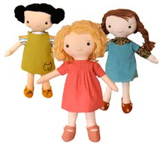 """Kit, Chloe & Louise  Complete full-size patterns and easy-to-follow instructions for three 16"""" dolls, 4 outfits and a pair of shoes. Also included—detailed yarn hair instructions. (fifteen dollars)"""