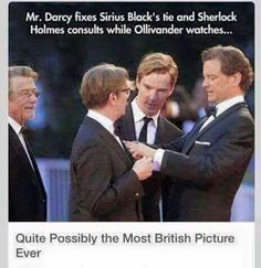 I don't even know on which board to pin this! Sherlock, Hogwarts and Pride and Prejudice all in one pic!