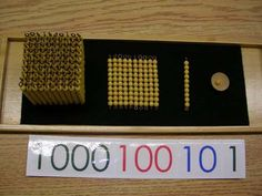 Math the Montessori way- Golden Beads. 10 squared is, literally, a square of beads. 10 cubed is literally a cube. Ten rows across, ten times high.