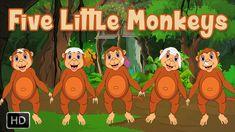 Five Little Monkeys Jumping On The Bed | HD Nursery Rhyme with Lyrics