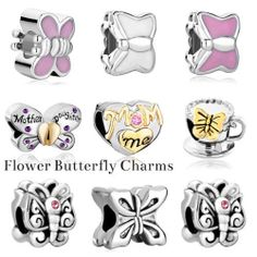 Pugster Flower Butterfly Charms European Spacer Beads Fit All Charms Bracelet