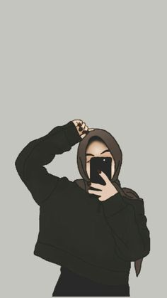 Girl Drawing Sketches, Cute Girl Drawing, Cartoon Girl Drawing, Girl Cartoon, Cute Cartoon, Kawaii Anime Girl, Anime Art Girl, Hijab Drawing, Makeup Artist Logo