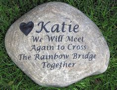Personalized Rainbow Bridge Memorial Stone Headstone Gravestone 10-11 Inch Memorial Stone Grave Marker #cat_memorial #dog_memorial #grave_marker