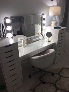 Home-Depot, . Home-Depot, . Dressing room goals from featuring our Audrey Hollywood Mirror. Cute Room Decor, Teen Room Decor, Room Ideas Bedroom, Bedroom Decor, Vanity Makeup Rooms, Makeup Room Decor, Ikea Vanity, Diy Vanity, Vanity Ideas
