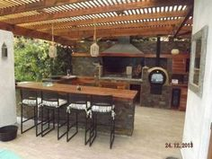 """Receive great suggestions on """"outdoor kitchen countertops grill area"""". They are … Receive great suggestions on """"outdoor kitchen countertops grill area"""". They are actually offered for you on our site. Outdoor Kitchen Countertops, Outdoor Kitchen Bars, Outdoor Kitchen Design, Kitchen Wood, Outdoor Kitchens, Dirty Kitchen, Soapstone Countertops, Patio Pergola, Backyard Patio"""