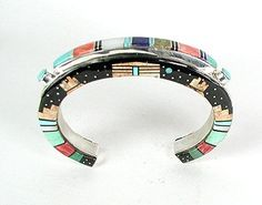 Incredible inlay bracelet by Navajo artist Merle House. Three sided inlay. Just breathtaking. Look for more views.