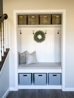 Closet Bench, Front Hall Closet, Entry Closet, Bench Mudroom, Bench For Entryway, Closet To Mudroom, Closet Renovation, Closet Remodel, Small Mudroom Ideas