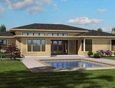 Modern Plan with Open Layout: This one story modern ranch style home comes loaded with amenities and exudes style and grace. House Plan No. 325421
