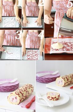 Patterned Swiss roll step by step Creative Cakes, Creative Food, Beautiful Cakes, Amazing Cakes, Sweet Recipes, Cake Recipes, Cake Tutorial, Cakes And More, Let Them Eat Cake